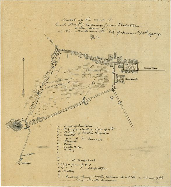 Sketch of the route of Genl. Worth's column from Chapultepec to the Alemeda in the attack upon the city of Mexico, 13th & 14th Sept. 1847.