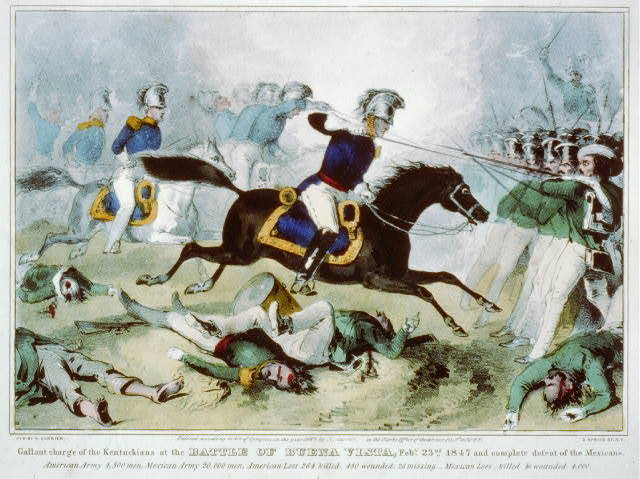 The gallant charge of the Kentuckians at the battle of Buena Vista, Feby. 23nd 1847 and complete defeat of the Mexicans