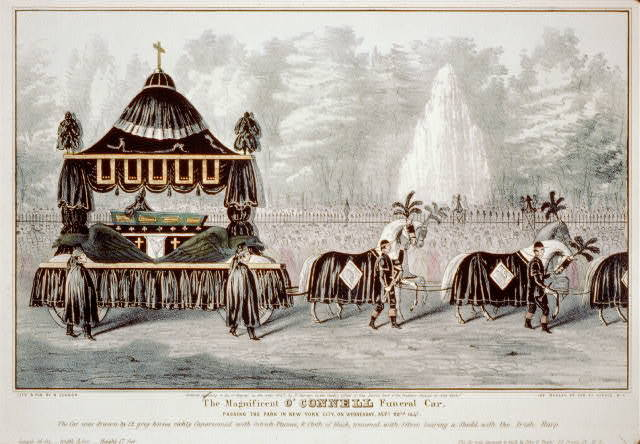 The magnificent O'Connell funeral car: passing the park in New-York City, on Wednesday, Sept. 22nd 1847