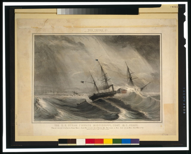 The U.S. Steam Frigate Mississippi, Com..re M.C. Perry--Going out to the relief of the American steamer Hunter a French bark [her prize] and an American pilot boat wrecked on Green Island reef near Vera Cruize March 21st, 1847 / lith. of Sarony & Major ; executed by H. Walke Lt. U.S.N.