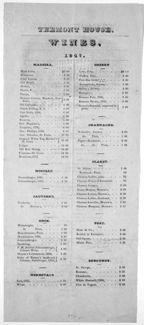 Tremont House. Bill of fare. Table d'hote, August 30, 1847 [Sept. 2, 1847] Eastburn's press.