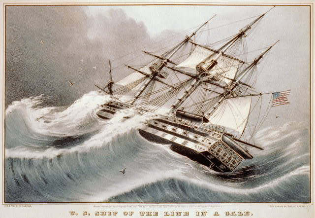 U.S. ship of the line in a gale