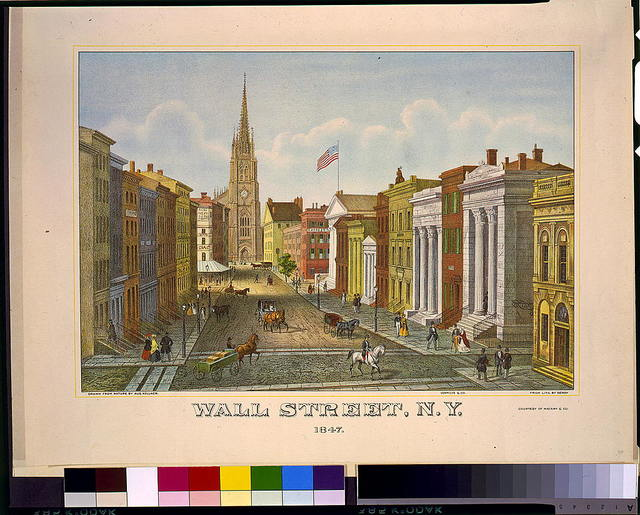 Wall Street, N.Y. 1847 / drawn from nature by Aug. Köllner ; from lith. by Deroy ; Vermilye & Co.
