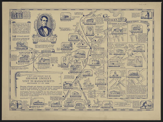 A 100th anniversary map of Abraham Lincoln's visit to Massachusetts, September 11-23, 1848.