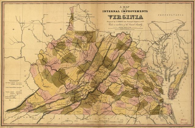 A map of the internal improvements of Virginia; prepared by C. Crozet, late principal engineer of Va. under a resolution of the General Assembly adopted March 15th 1848.