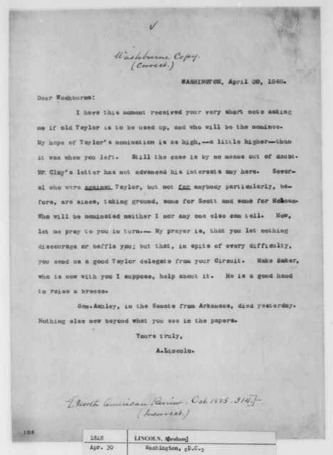 Abraham Lincoln to Elihu B. Washburne, Sunday, April 30, 1848  (Politics)
