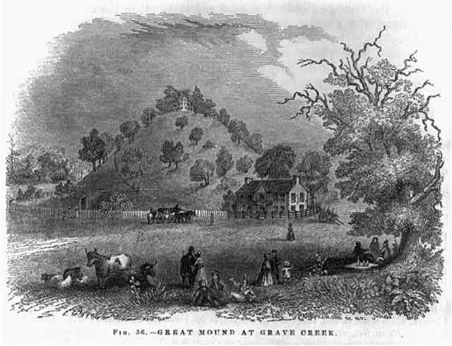 [Ancient Indian burial mounds. Moundsville, W.Va.] Great Mound at Grave Creek