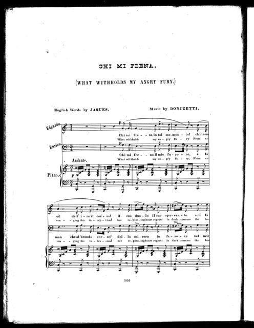 Chi mi frena = What withholds my angry fury from opera Lucia di Lammermoor