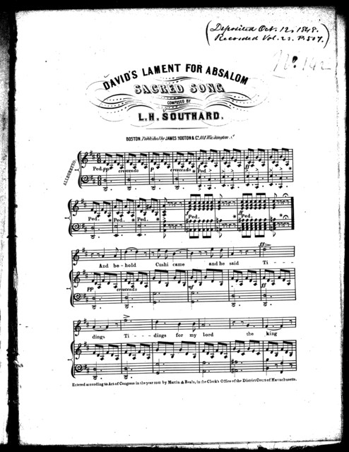 David's lament for Absalom, sacred song