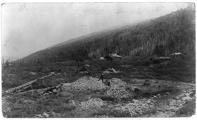 [El Dorado, California. View of scattered log cabins]