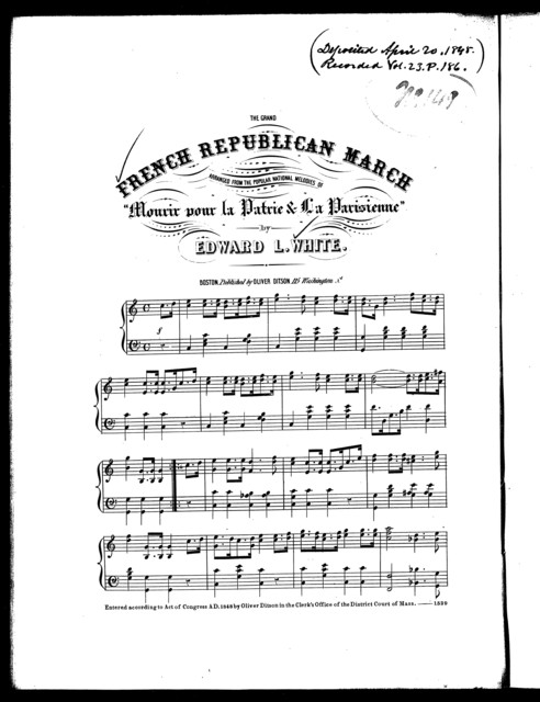 "French Republican march, arranged from the popular national melodies of ""Mourir pour la Patrie and La Parisienne"""