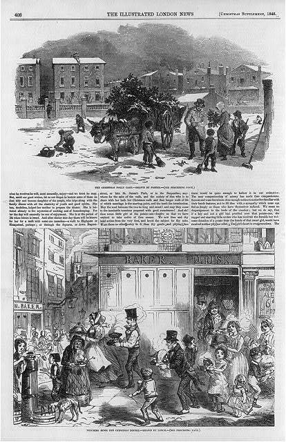 [Full page of The Illustrated London News, Christmas Supplement, 1848, showing 2 scenes: 1) The Christmas Holly Cart  [street peddlar selling] 2) Fetching home the Christmas dinner [from bakery]