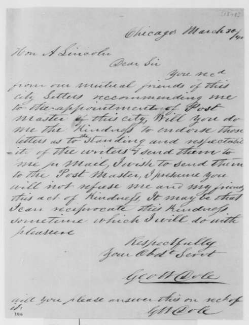 George W. Dole to Abraham Lincoln, Thursday, March 30, 1848  (Appointments)