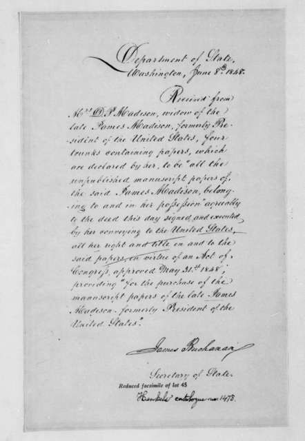 James Buchanan to Dolley Payne Madison, June 8, 1848. Receipt.