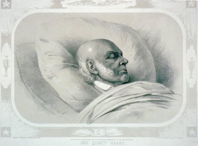 John Quincy Adams / sketch'd by Arthur J. Stansbury Esqr. a few hours previous to the death of Mr. Adams ; lith. by Sarony & Major.