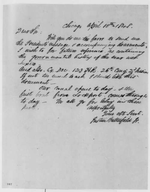 Justin Butterfield to Abraham Lincoln, Monday, April 10, 1848  (Request for documents)
