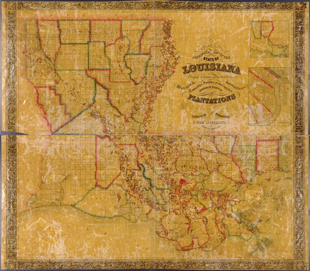 La Tourrette's reference map of the state of Louisiana : from the original surveys of the United States, which show the townships, sections, or mile squares, Spanish grants, settlement rights & c., also the plantations with the owners names engraved thereon /