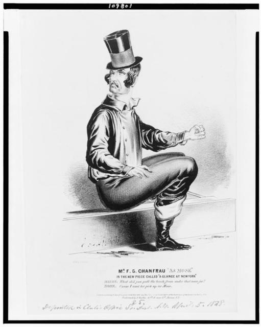 """Mr. F.S. Chanfrau """"as Mose"""" in the new piece called """"A glance at New York"""" / J.L.M. del. ; lith. of J. Baillie."""