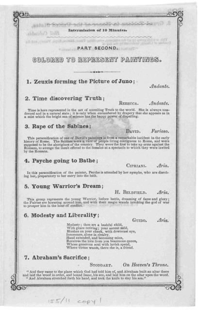 Peale's Philadelphia museum. Living models. Mr. Osgood's lectures and personifications of painting and sculpture by the living models ... Philadelphia. U. S. Job printing office, Ledger Building January 13, 1848.