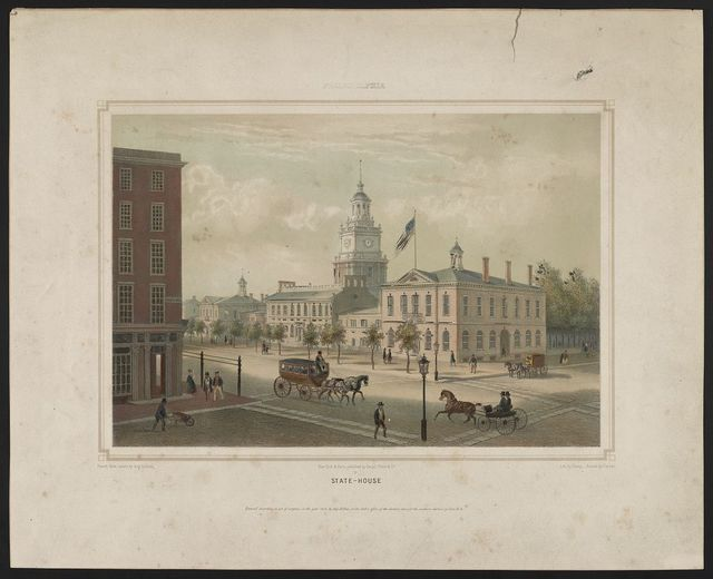 Philadelphia State-house / / drawn from nature by Aug. Köllner; lith. by Deroy; printed by Cattier.