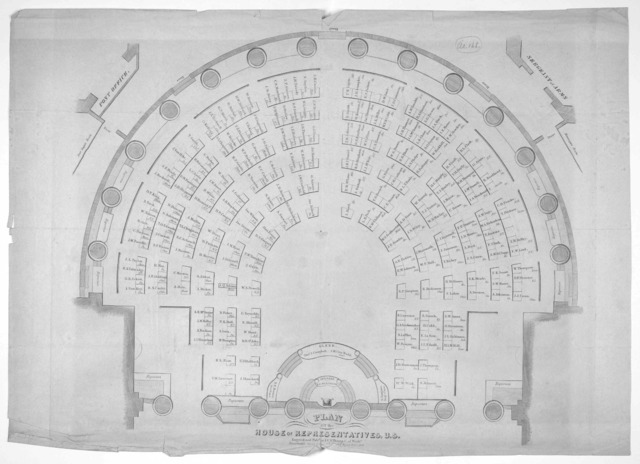 Plan of the House of representatives, U. S. Engraved and published by J. V. N. Throop of Washington. 1848.
