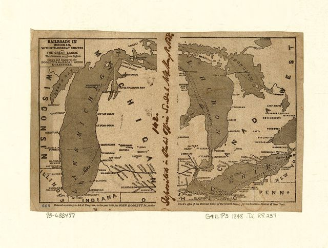 Railroads in Michigan, with steamboat routes on the Great Lakes. Drawn and engraved for Doggett's railroad guide & gazetteer.