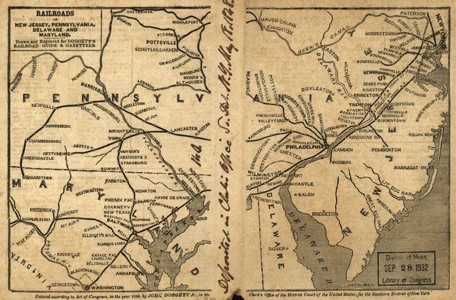 Railroads in New Jersey, Pennysylvania, Delaware and Maryland; drawn and engraved for Doggett's Railroad Guide & Gazetteer.