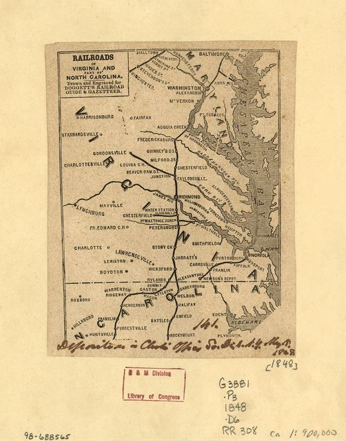 Railroads in Virginia and part of North Carolina, drawn and engraved for Doggett's Railroad Guide & Gazetteer.