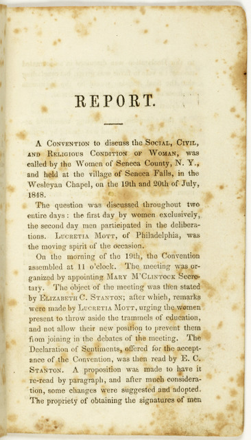 Report of the Woman's Rights Convention, held at Seneca Falls, New York, July 19th and 20th, 1848. Proceedings and Declaration of Sentiments