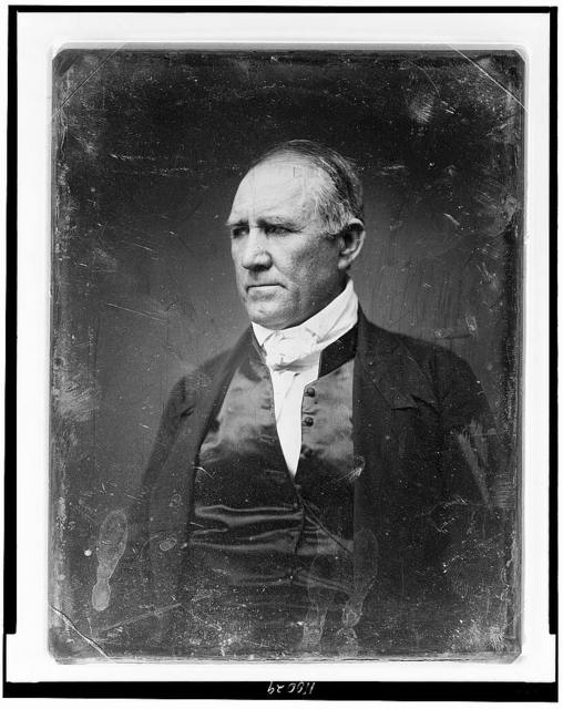 [Sam Houston, half-length portrait, three-quarters to the left, in civilian dress, clean shaven]
