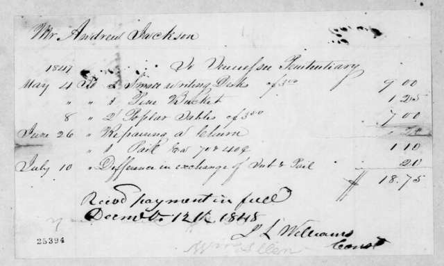 Tennessee Penitentiary to Andrew Jackson, Jr., December 12, 1848