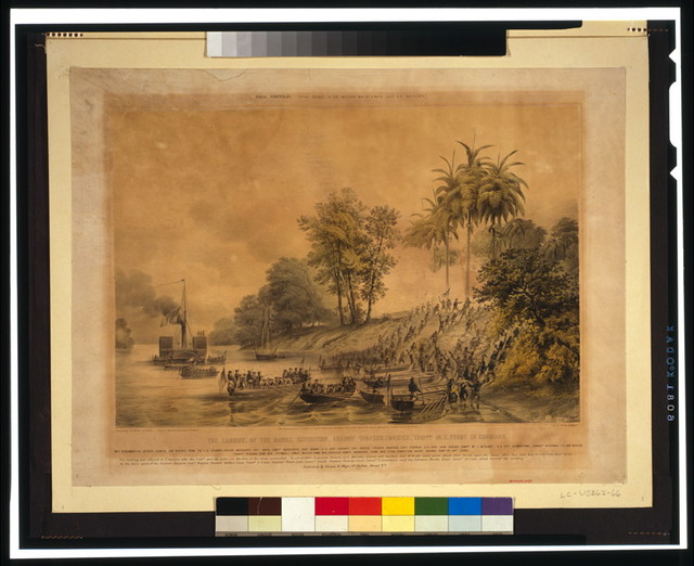 The landing, of the naval expedition, against Tabasco [Mexico]. Com...ore M.C. Perry in command / painted by H. Walke Lt. U.S.N. ; drawn on stone by Volmering & Davignon ; lith. by Sarony & Major.
