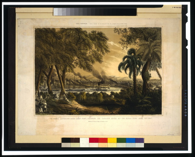 The naval expedition under Com..re Perry, assending [sic] the Tabasco River at the Devils Bend--June, 15th 1847 / lith. of Sarony & Major ; designed & drawn on stone by H. Walke Lt. U.S.N.
