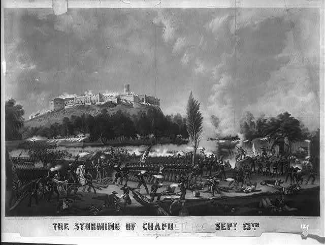 The storming of Chapu[ltepec] Sept. 13th [1847] / drawn on stone, printed in colours ... by Sarony & Major ; [from a painting by Walker in the poss]esion of Capt. Roberts, U.S.A.