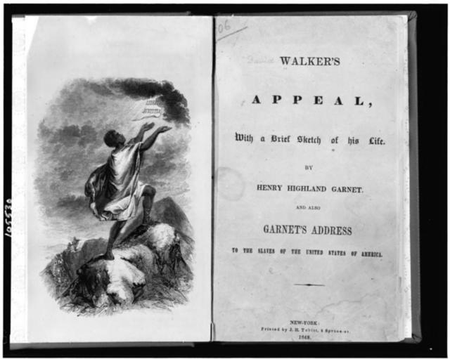 "[Title page and frontispiece showing slave on top of mountain, with his hands raised to paper labelled ""libertas justitia"" which appears in sky] / Childs."