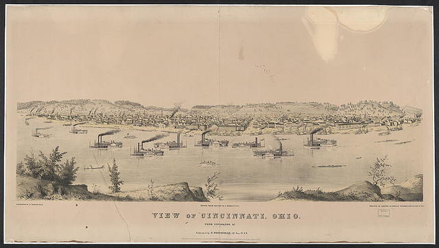 View of Cincinnati, Ohio from Covington, Ky. / drawn from nature by E. Whitefield ; printed in colors by Jones & Newman, 128 Fulton St., N.Y.