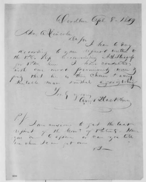 A. M. Blackburn to Abraham Lincoln, Sunday, April 08, 1849  (Appointment)