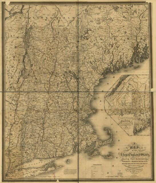 A map of the New England states, Maine, New Hampshire, Vermont, Massachusetts, Rhode Island & Connecticut with the adjacent parts of New York & Lower Canada; compiled and published by Nathan Hale, Boston, 1826.