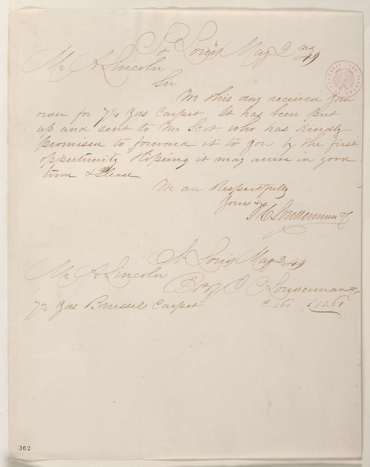 Abraham Lincoln papers: Series 1. General Correspondence. 1833-1916: J. C. Lonnerman Company to Abraham Lincoln, Wednesday, May 02, 1849 (Carpet Bill)