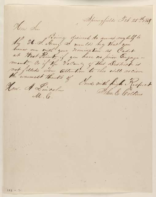 Abraham Lincoln papers: Series 1. General Correspondence. 1833-1916: John E. Collins to Abraham Lincoln, Sunday, February 25, 1849 (Appointment)