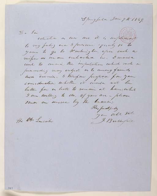 Abraham Lincoln papers: Series 1. General Correspondence. 1833-1916: Justin Butterfield to Abraham Lincoln, Saturday, June 09, 1849 (Abraham Lincoln in Land Office)