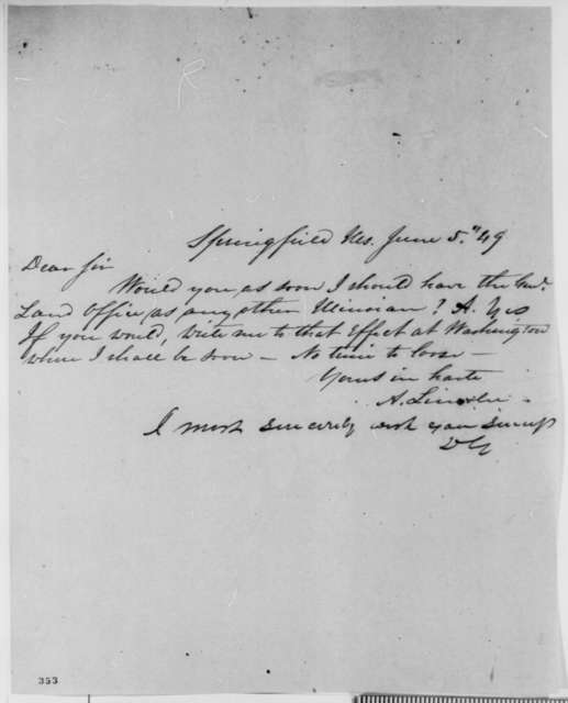 Abraham Lincoln to Duff Green, Tuesday, June 05, 1849  (Abraham Lincoln in Land Office; endorsed by Green)