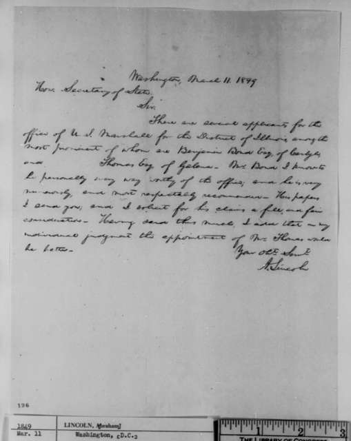 Abraham Lincoln to John M. Clayton, Sunday, March 11, 1849  (United States Marshal Appointment)