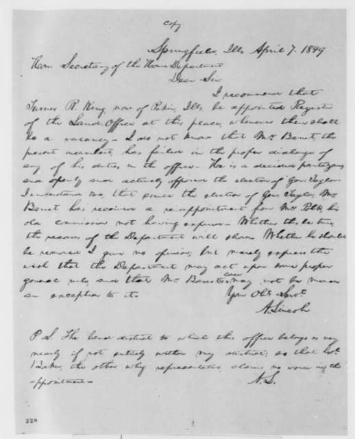 Abraham Lincoln to Thomas Ewing, Saturday, April 07, 1849  (Recommendation)