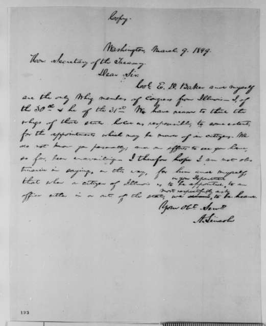 Abraham Lincoln to William M. Meredith, Friday, March 09, 1849  (Appointments)