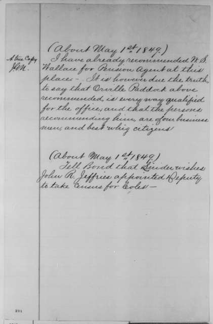 Abraham Lincoln, Tuesday, May 01, 1849  (Recommendations; copy in John G. Nicolay's hand)