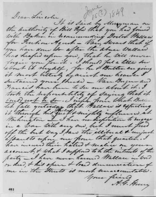Anson G. Henry to Abraham Lincoln, Friday, June 15, 1849  (Appointment)
