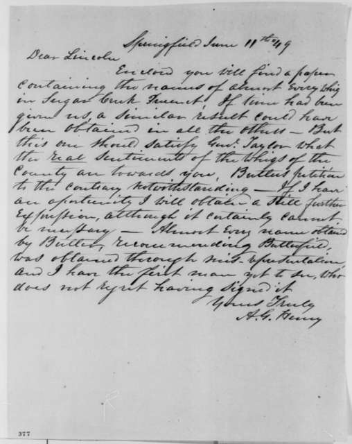 Anson G. Henry to Abraham Lincoln, Monday, June 11, 1849  (Abraham Lincoln in Land Office)