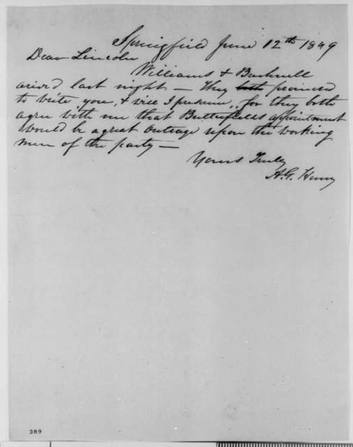 Anson G. Henry to Abraham Lincoln, Tuesday, June 12, 1849  (Abraham Lincoln in Land Office)