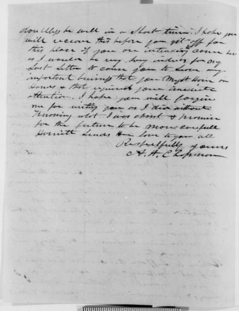 Augustus H. Chapman to Abraham Lincoln, Monday, May 28, 1849  (Illness of Thomas Lincoln (father))